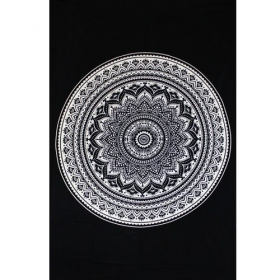 "\""Indian black Mandala\"" hanging, Black and white"