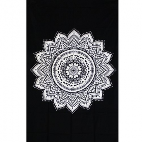 """Indian black Mandala\"" hanging, Black and white"