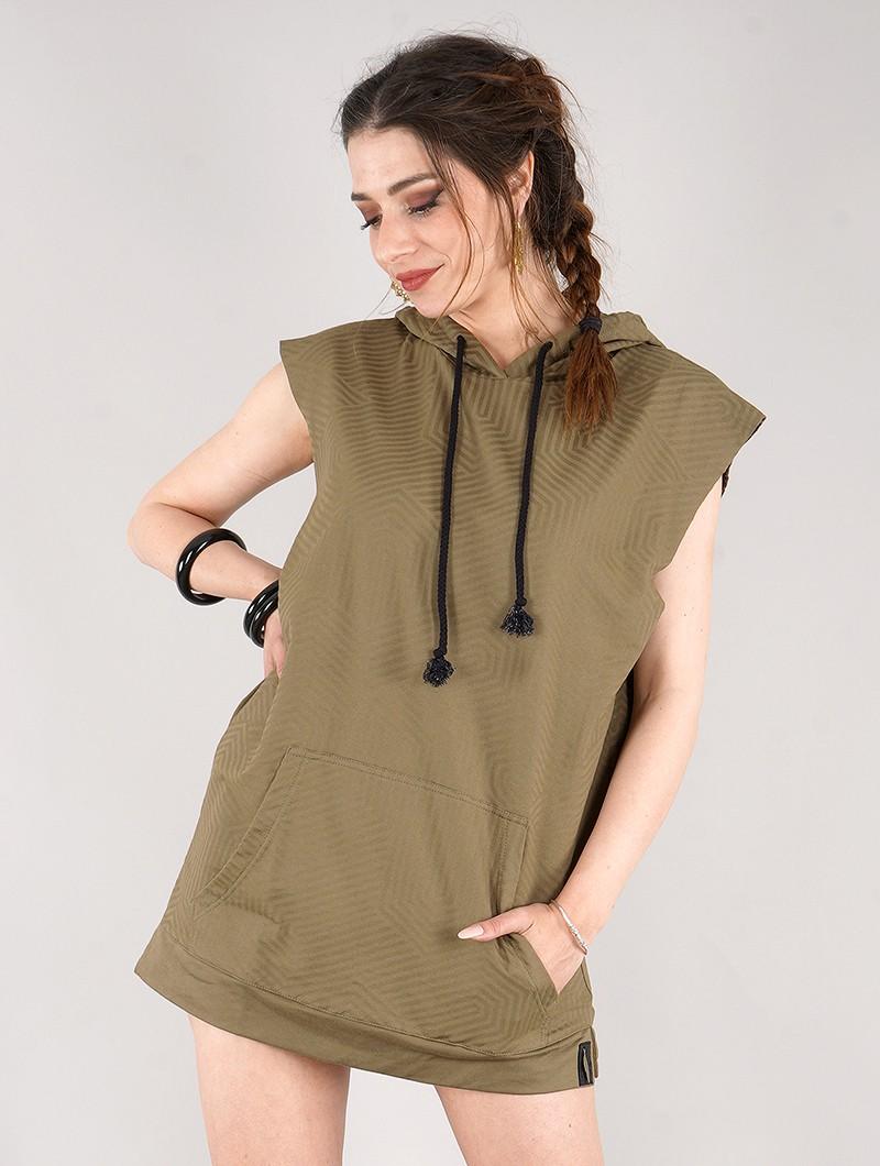 "\""Indica Akhenaton\"" gender neutral sleeveless hoodie, Printed army green"