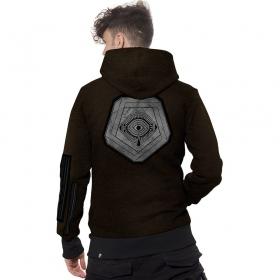 "\""Infinity\"" zipped hoodie, Black with hamra stripes"