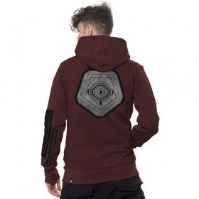 "\""Infinity\"" zipped hoodie, Mottled black bordeaux"