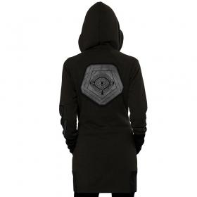 "\\\""Infinity\\\"" zipped long hoodie, Black with hamra stripes"