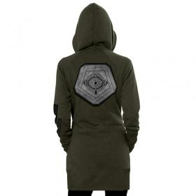 "\\\""Infinity\\\"" zipped long hoodie, Mottled khaki"