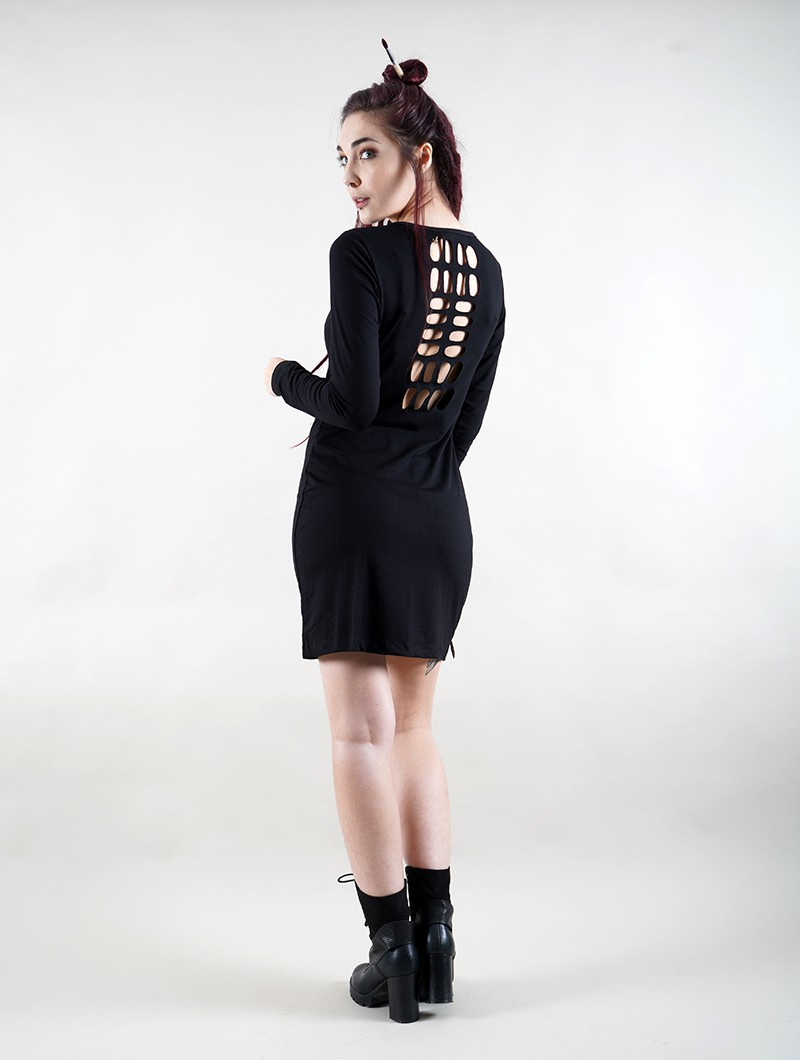 """Irian Jaya\"" long sleeve dress, Black"