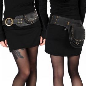 "\""Ishtar\"" pocket belt, Black leather"