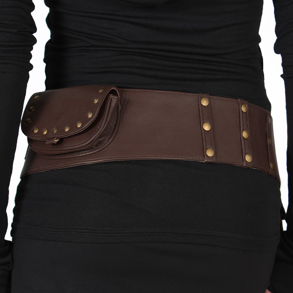 """Ishtar\"" pocket belt, Brown leather"