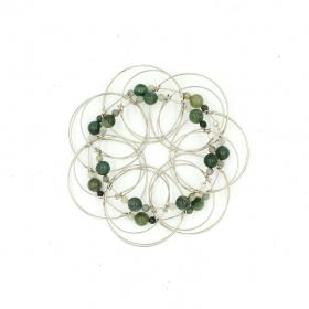 Jade stone Pyramid 2, wire 3D Mandala