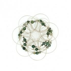 Jade stone Pyramid 3, wire 3D Mandala