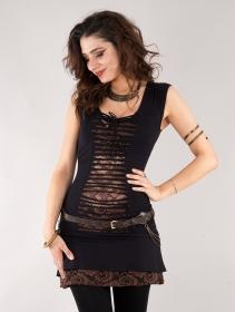 "\""Jadeite\"" dress, Black and brown"