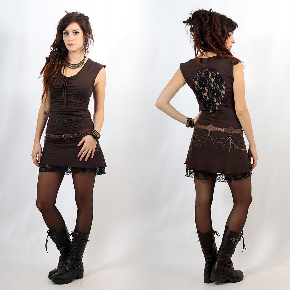 "\""Jadeite\"" dress, Brown and black"