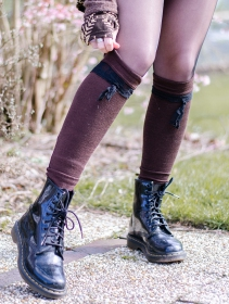 "\""Jeïkaa\"" Yggdrazil legwarmers, Brown and black lace"