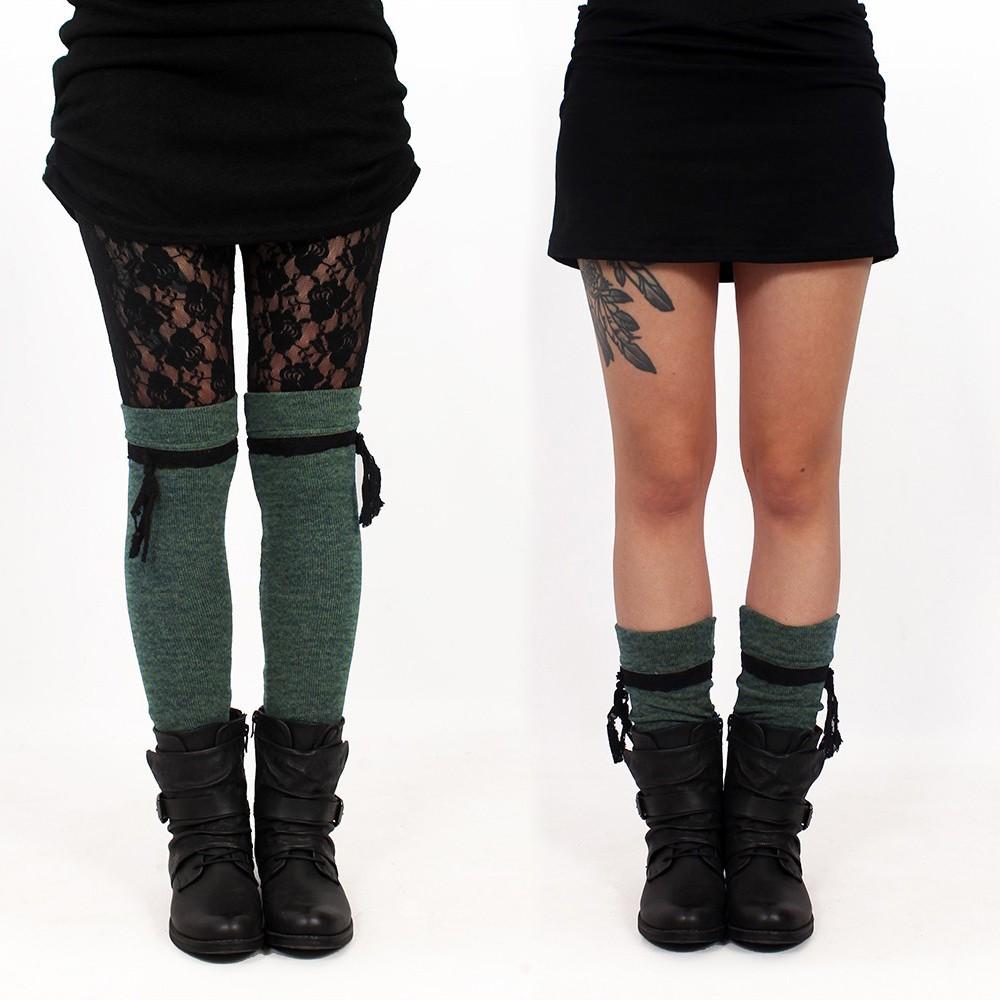 "\""Jeïkaa\"" Yggdrazil legwarmers, Khaki green and black lace"
