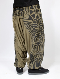"""Jinn Aladin Haida\"" Gender neutral harem pants, Light khaki green and black"
