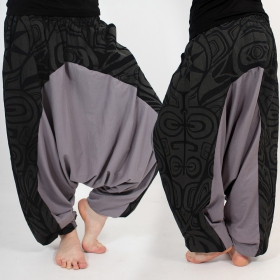 ''Jinn Aladin Haida'' harem pants, Black and grey