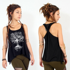 """Jivana\"" knotted tank top, Black and silver"