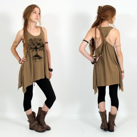 "\""Jivana\"" knotted tunic, Brown and black"