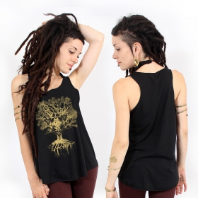 """Jivana\"" tank top, Black and gold"