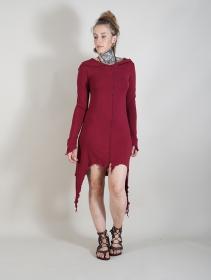 "\""Jowaki\"" asymmetric midi dress, Wine"