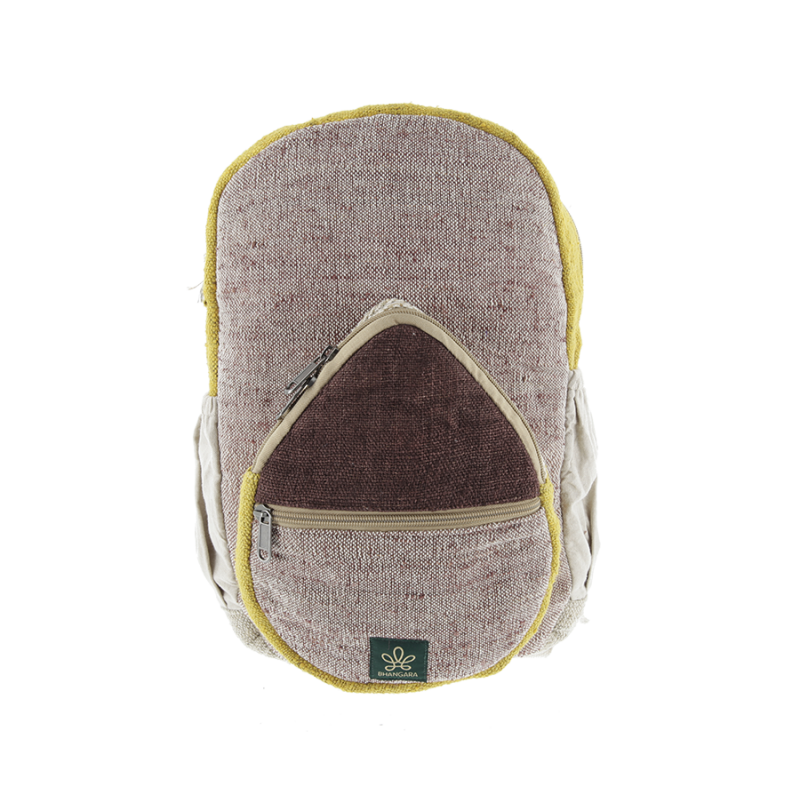 "\""Jumla\"" backpack, brown and saffron hemp and cotton"