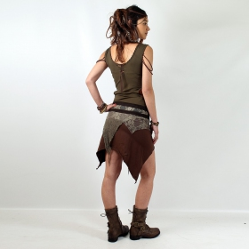 "Jupe Luna ""Lush Layers Wrap Around\"", Brown with Kaki Lace"