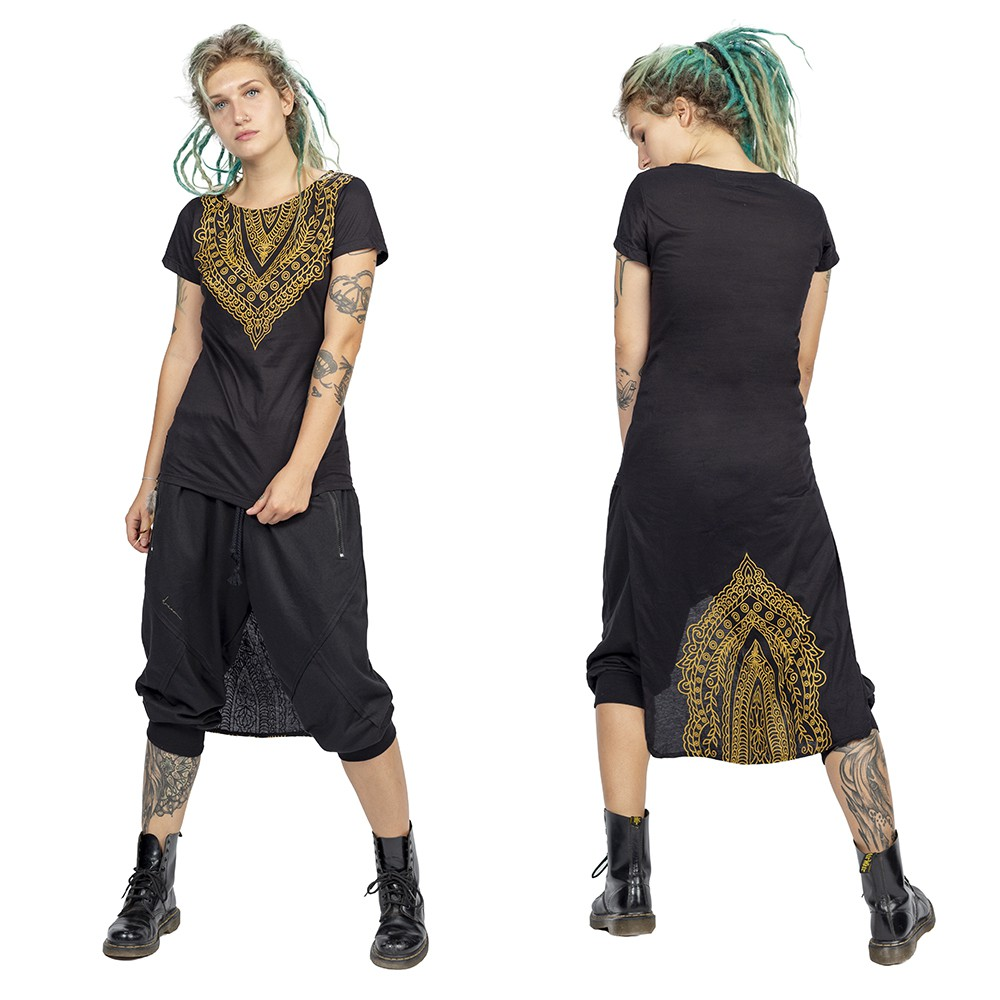 """Kala\"" asymmetric top, Black and gold"