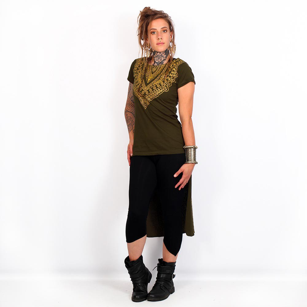 "\""Kala\"" asymmetric top, Khaki green and gold"