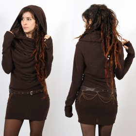 "\""Kali\"" mid season pullover dress, Brown"