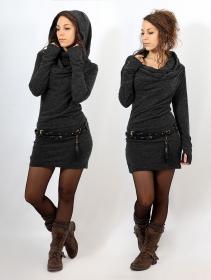 "\""Kali\"" mid season pullover dress, Charcoal"