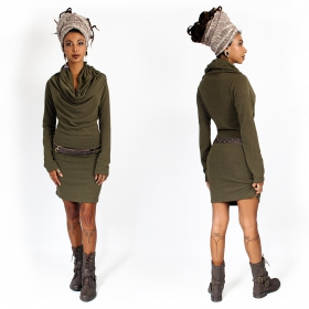 """Kali\"" mid season pullover dress, Khaki"