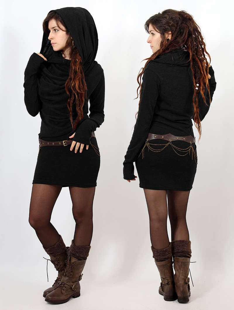 "\""Kali\"" sweater dress, Black"