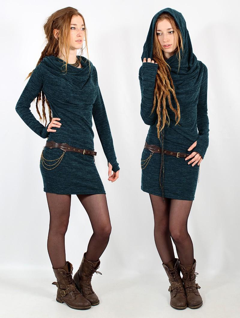 "\""Kali\"" sweater dress, Mottled blue"