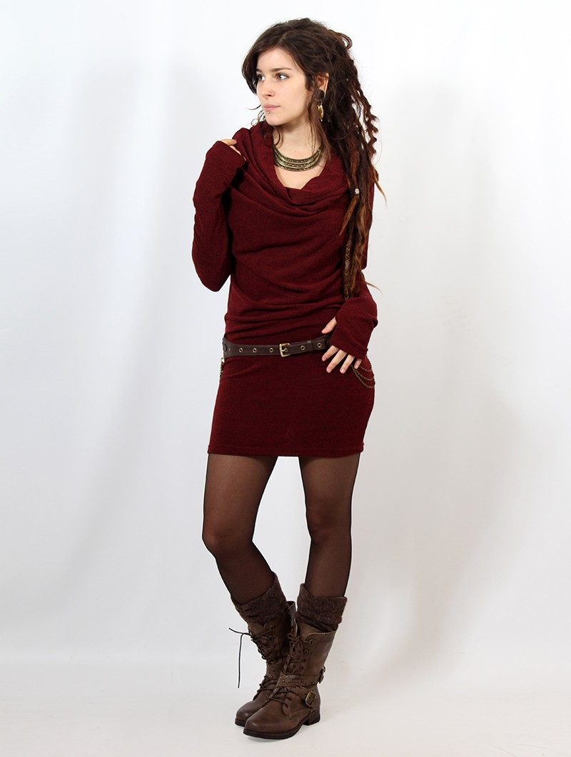 "\""Kali\"" sweater dress, Wine"