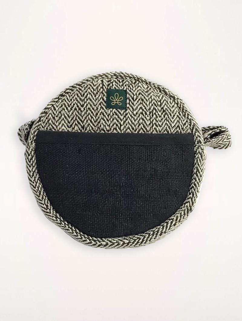 Small Round Shoulder Sling Bag Black Natural Hemp And Cotton Bhangara Kalikot