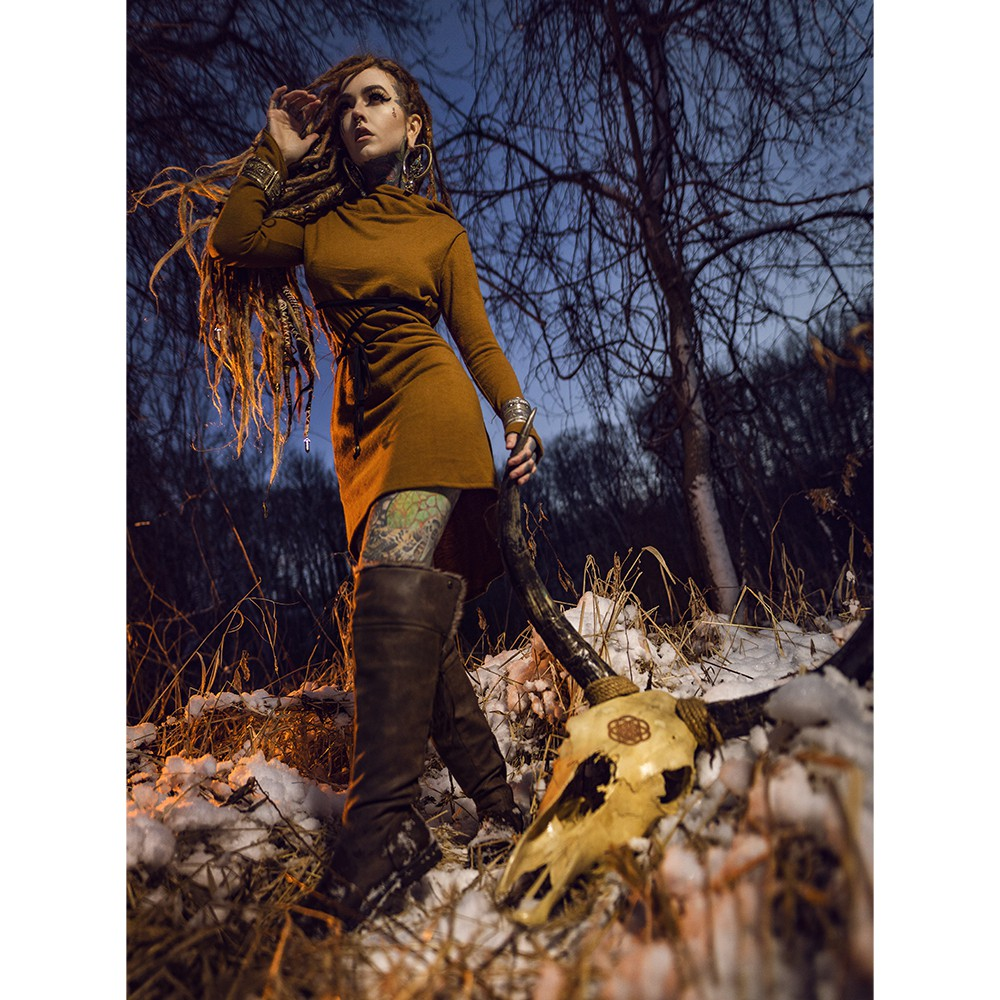 """Käliskä\"" sweater dress, Rusty and black"