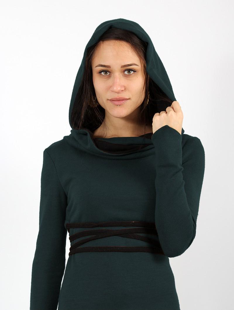 "\""Käliskä\"" sweater dress, Teal blue and black"