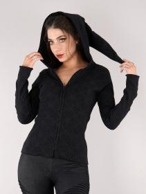 "\""Kamini Lame\"" light zipped hoodie, Black"