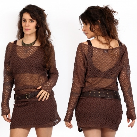 brown yggdrazil kayäa crochet sweater, long sleeved top in resistant lace with wide neckline, bare shoulder, mori style, roots look, original and elegant