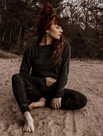 "\""Kayäaz\"" batwing sleeve sweater, Dark teal"