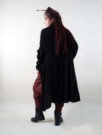 """Kazima\"" asymmetric long sweater, Black"