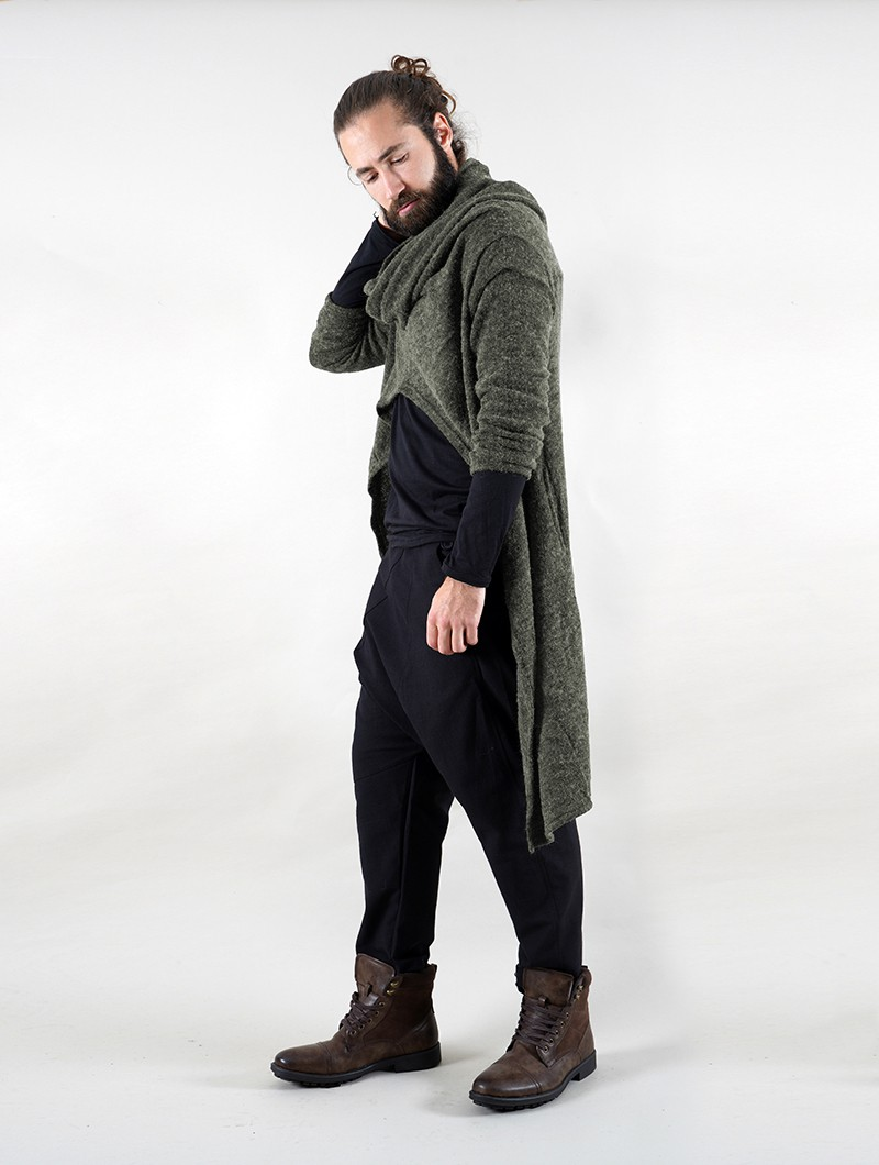 "\""Kazima\"" asymmetric long sweater, Khaki green"