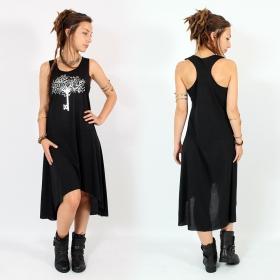 "\\\""Key tree\\\"" asymmetric dress, Black and silver"