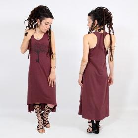 "\\\""Key tree\\\"" asymmetric dress, Mottled wine and black"