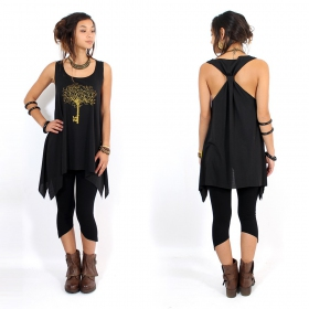 "\""Key tree\\\"" knotted tunic, Black and gold"