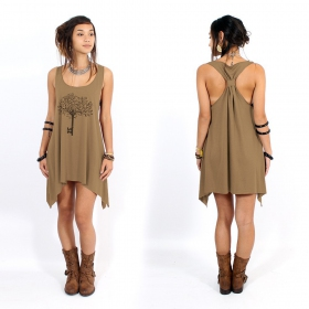 "\""Key tree\\\"" knotted tunic, Brown and black"