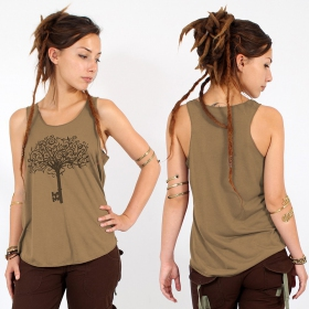 "\""Key tree\\\"" tank top, Brown and black"