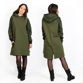 """Khione Africa\"" unisex hooded long sweater, Khaki green"