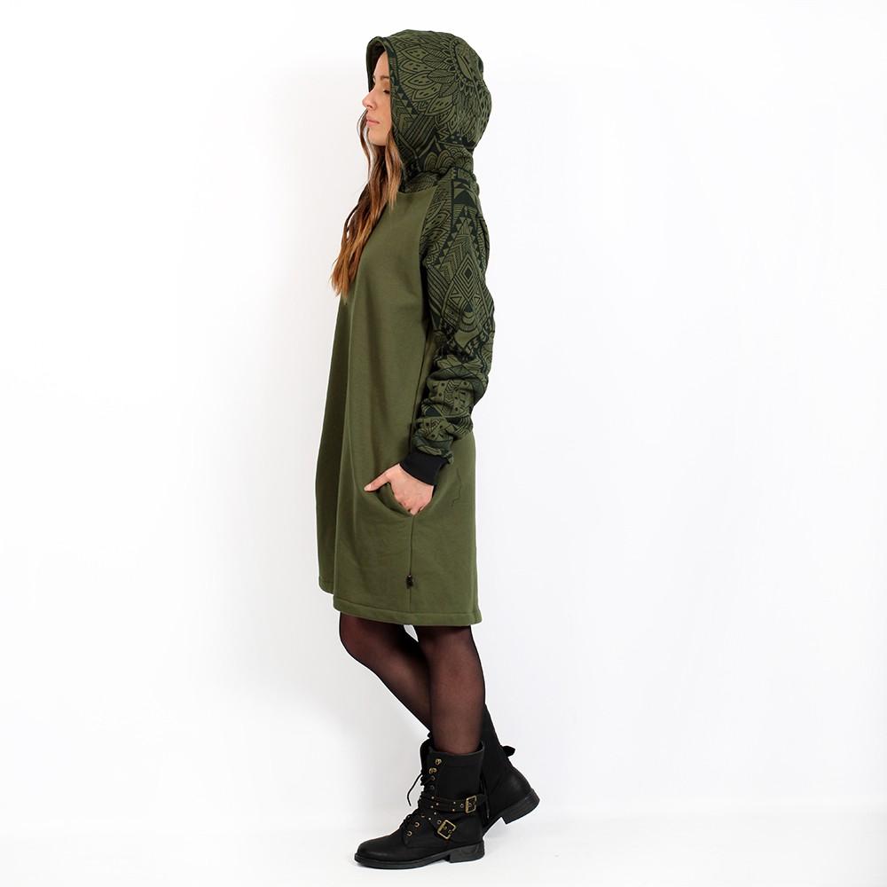 "\""Khione Africa\"" unisex hooded long sweater, Khaki green"