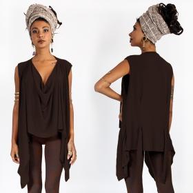 "\""Kihiko\"" hooded shawl, Brown"