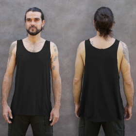 """Kinetic Shipibo\"" tank top, Black and grey"