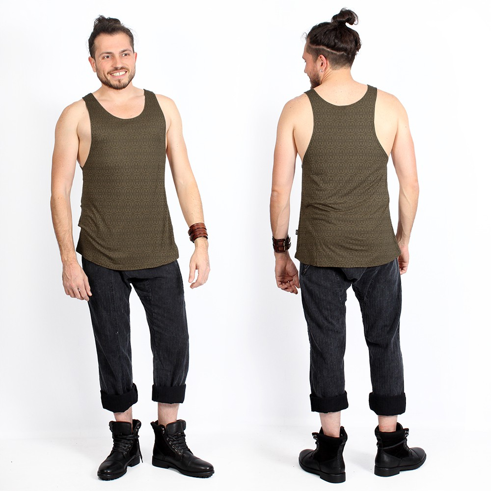 """Kinetic Shipibo\"" tank top, Brown"